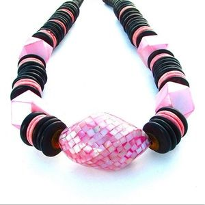 Chunky Statement Necklace Pink Retro Glam